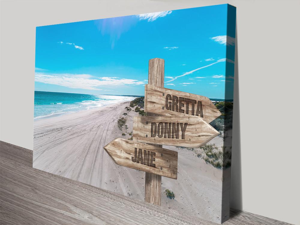 The Wedge Retro Signpost Beach Scene Art