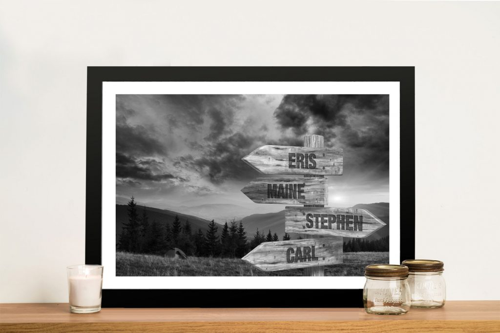 Ready to Hang Signpost Landscape Wall Art AU