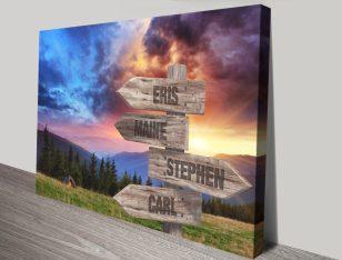 Buy Mountain Sunrise Signpost Bespoke Art
