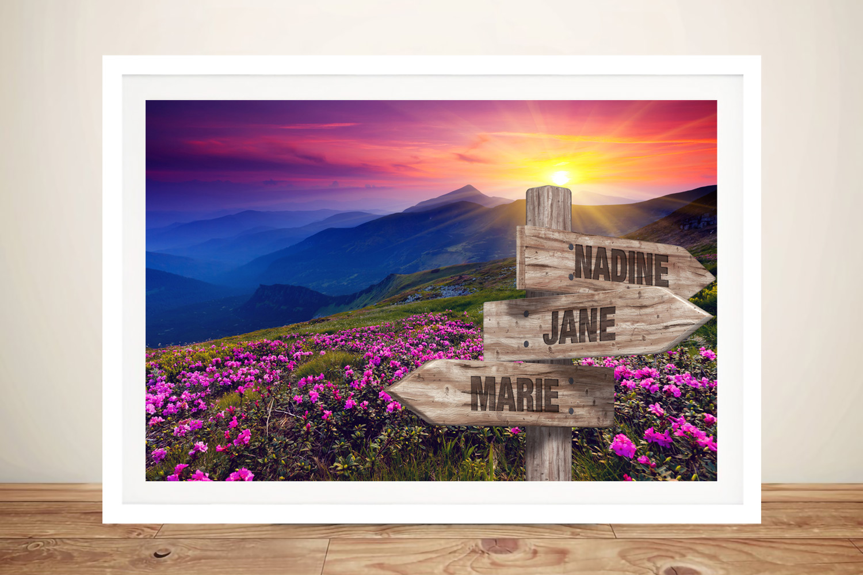 Pink Fields Framed Bespoke Signpost Print | Retro Pink Fields Signpost Art