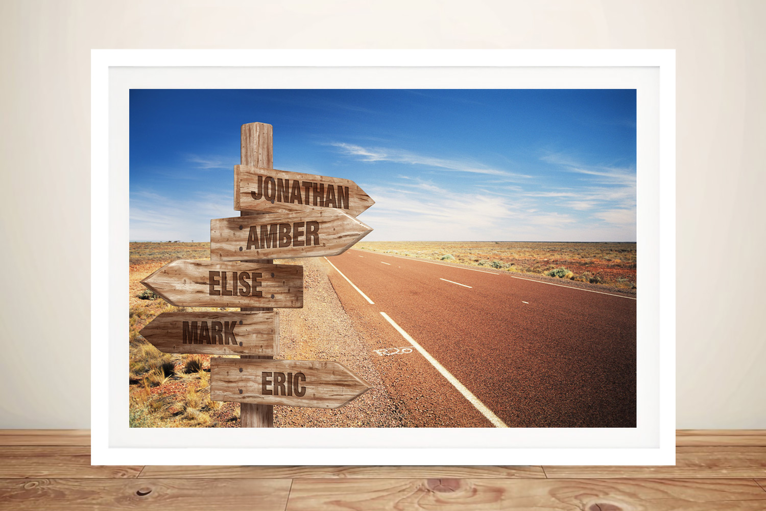 Straight Road Framed Retro Personalised Print | Straight Road Signpost Retro Art