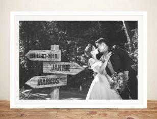 Romantic Custom Wedding Photo Signpost Art