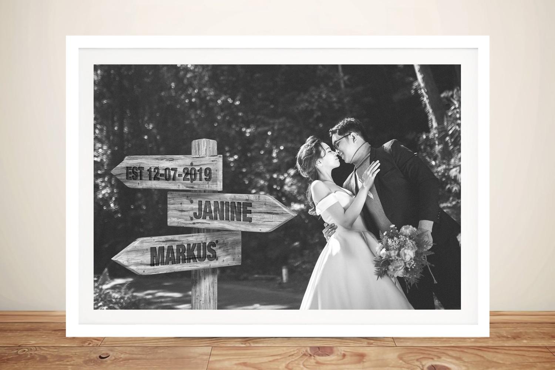 Romantic Custom Wedding Photo Signpost Art | Custom Wedding Photo Signpost Art