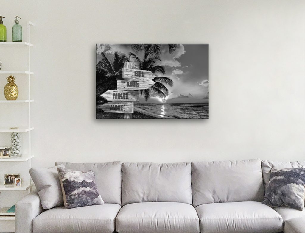 Black & White Tropical Scene Signpost Print