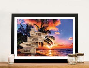 Framed Tropical Wooden Signpost Wall Art