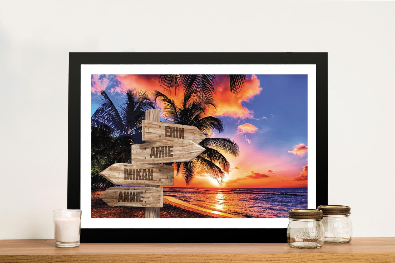 Framed Tropical Wooden Signpost Wall Art | Tropical Retro Signpost Art