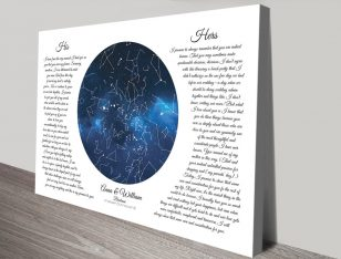 Bespoke Wedding Vows Star Map for Sale AU