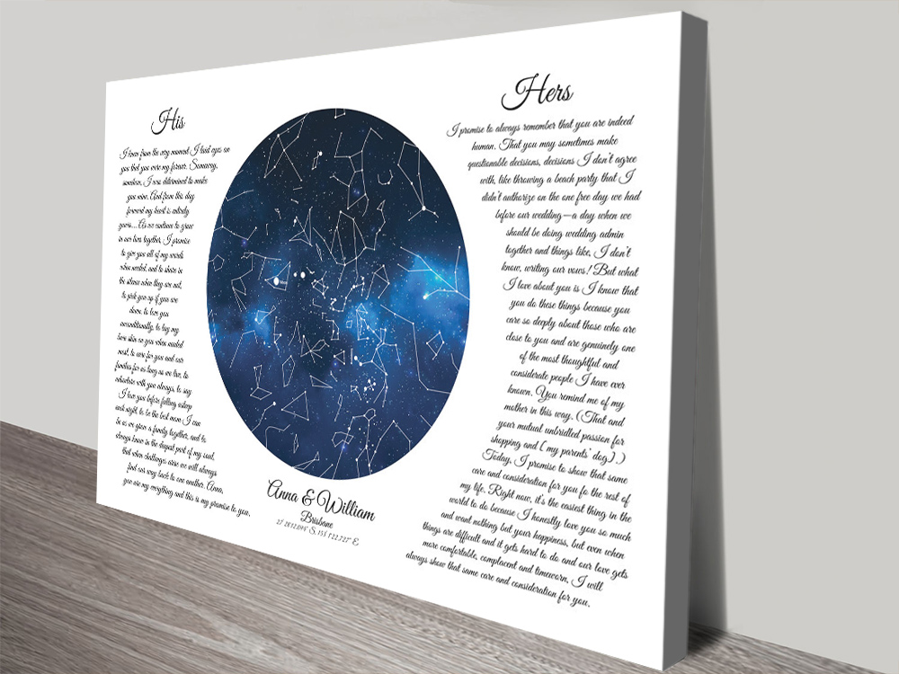 Bespoke Wedding Vows Star Map for Sale AU | Custom Star Map with Wedding Vows
