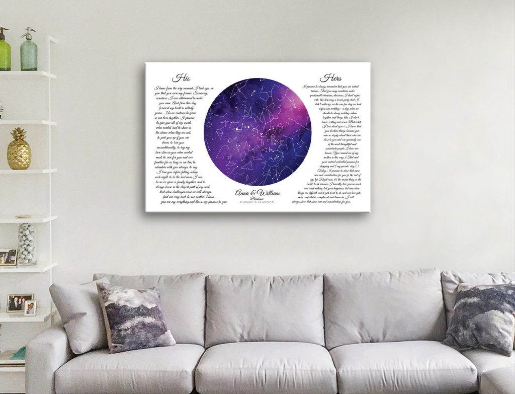 Stretched Canvas His & Hers Star Map Art