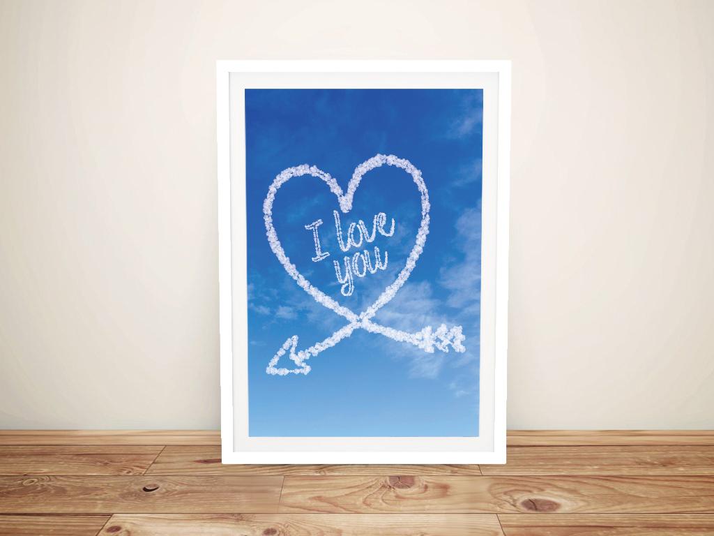 Buy a Framed I love You Custom Cloud Art Print | Personalised Clouds: Arrow Heart