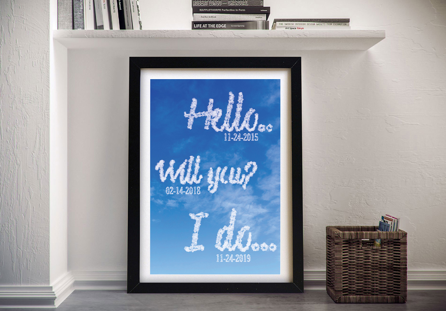 Framed I Do Writing in the Clouds Bespoke Art | Personalised Clouds: Special Dates