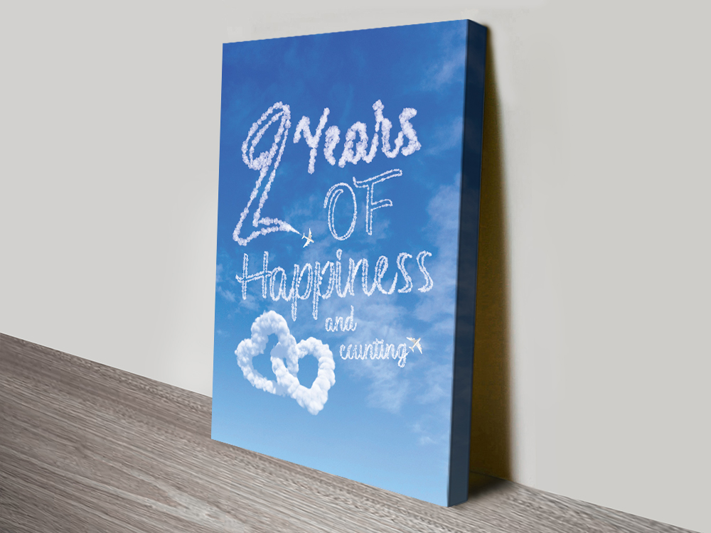 Stretched Canvas Bespoke Happiness Cloud Art | Personalised Clouds: Happiness