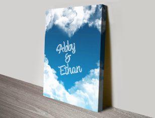 Writing in the Clouds Custom Heart Artwork