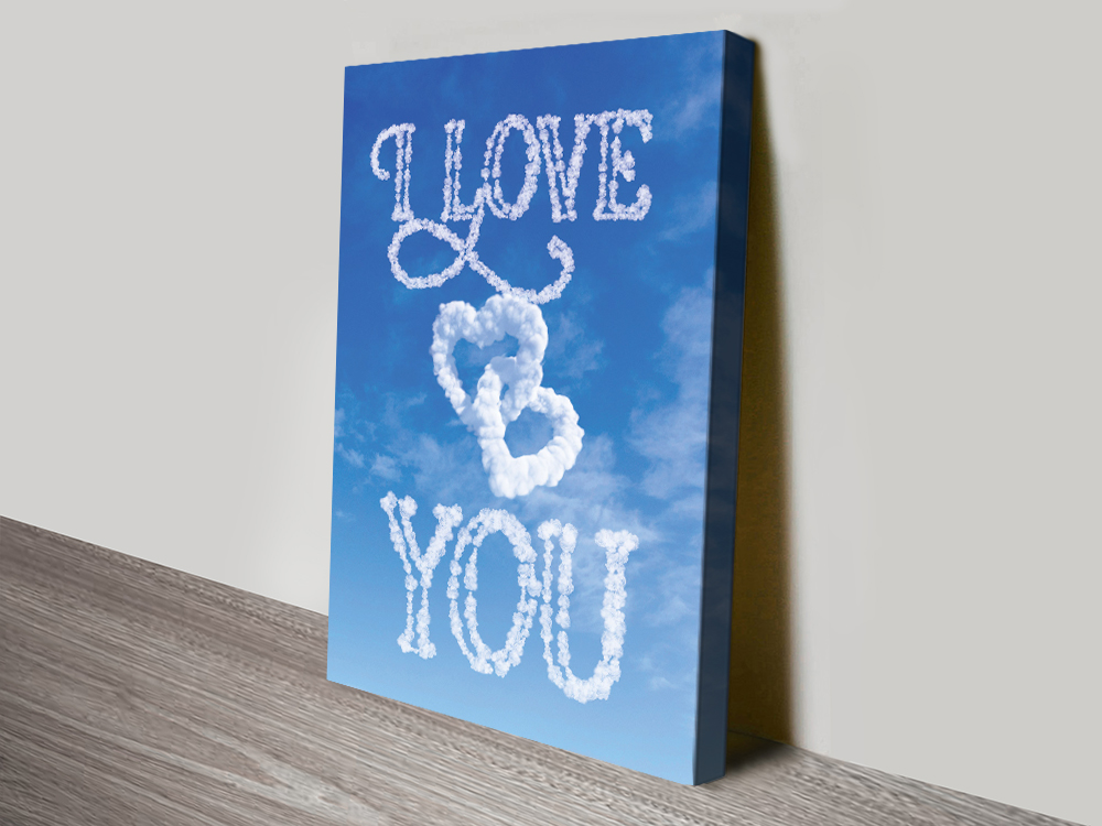 Love You Written in the Clouds Custom Art | Personalised Clouds: Love