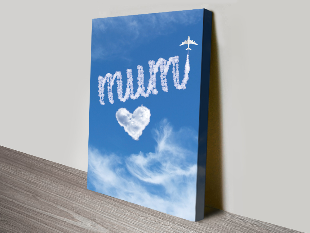 Writing in the Clouds Mum Print on Canvas | Personalised Clouds: Mum