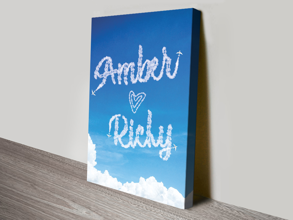 Writing in the Clouds Custom Canvas Prints | Personalised Clouds: Names