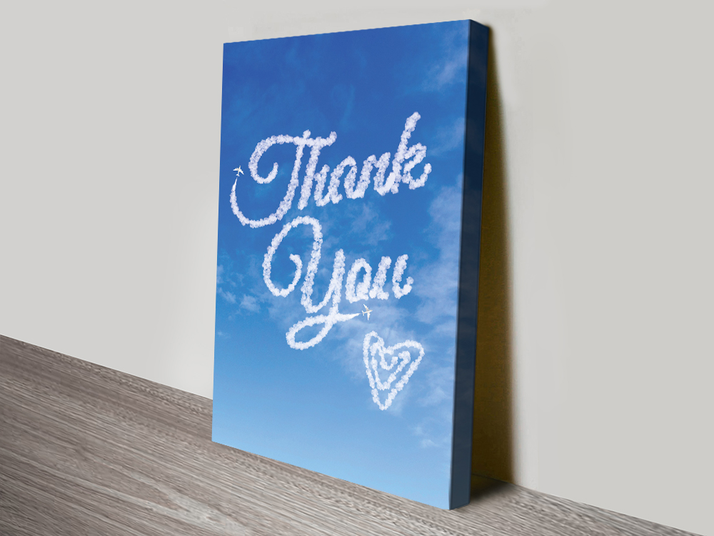 Thank You Writing in the Clouds Custom Art