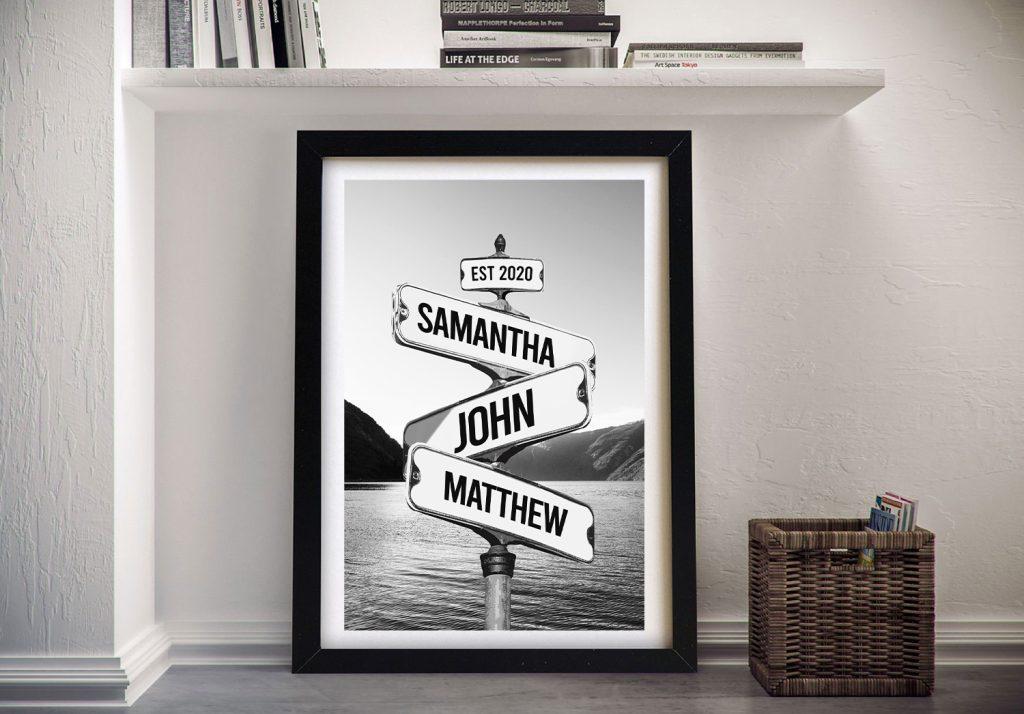 Framed Vintage-Effect Custom Signpost Art