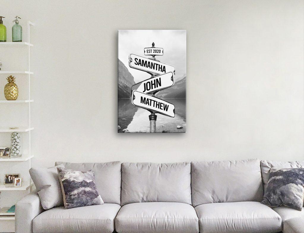 Black & White Lake Signpost Artwork AU