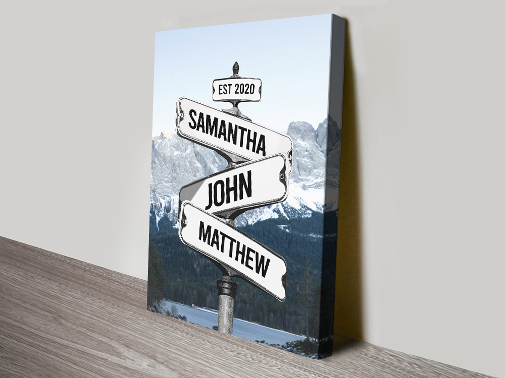 Retro Stretched Canvas Mountain Signpost Print