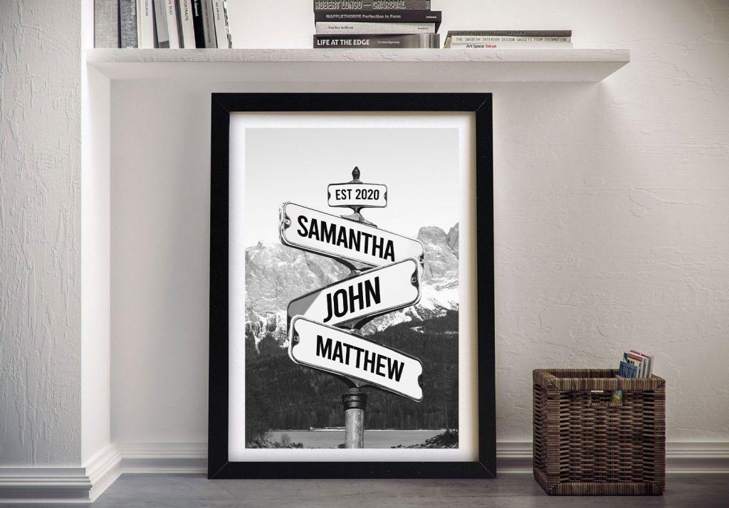 Framed Black & White Signpost Retro Wall Art