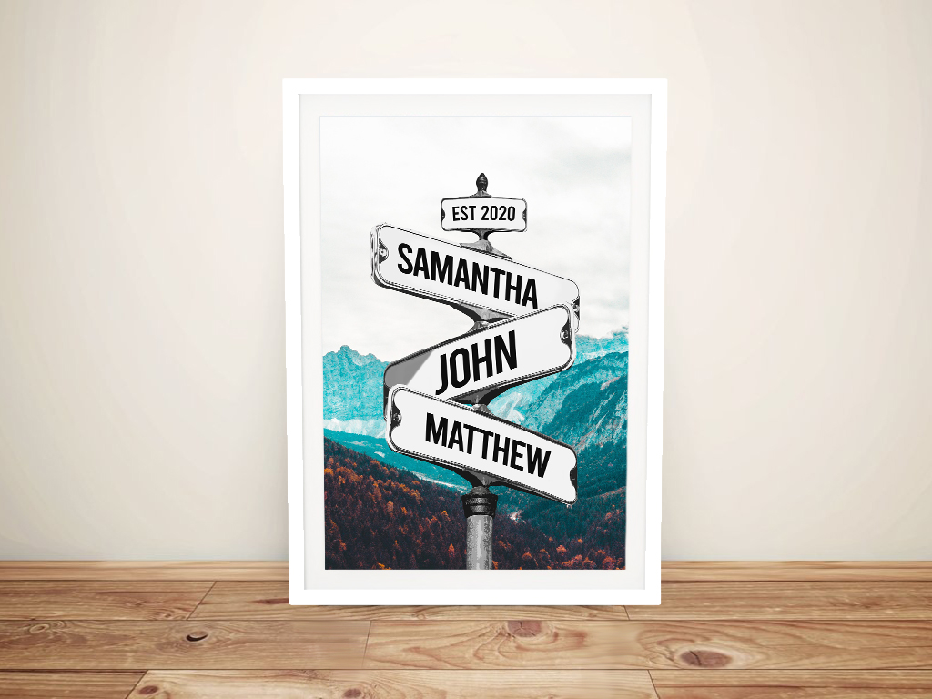 Framed Mountain Scene Vintage Signpost Print | Vintage Mountains Signpost Art