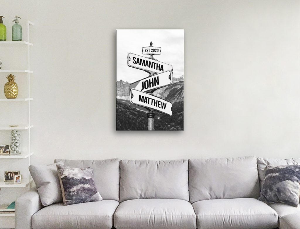 Black & White Custom Mountain Signpost Art