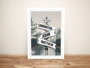 Buy a Framed Scenic Road Signpost Print