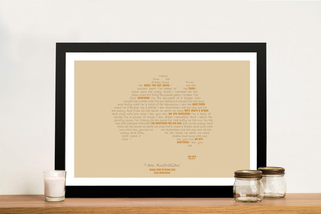 Framed Bespoke Australian Word Map Art