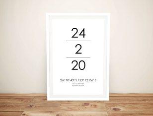 Framed Coordinates Date & Place Art Print