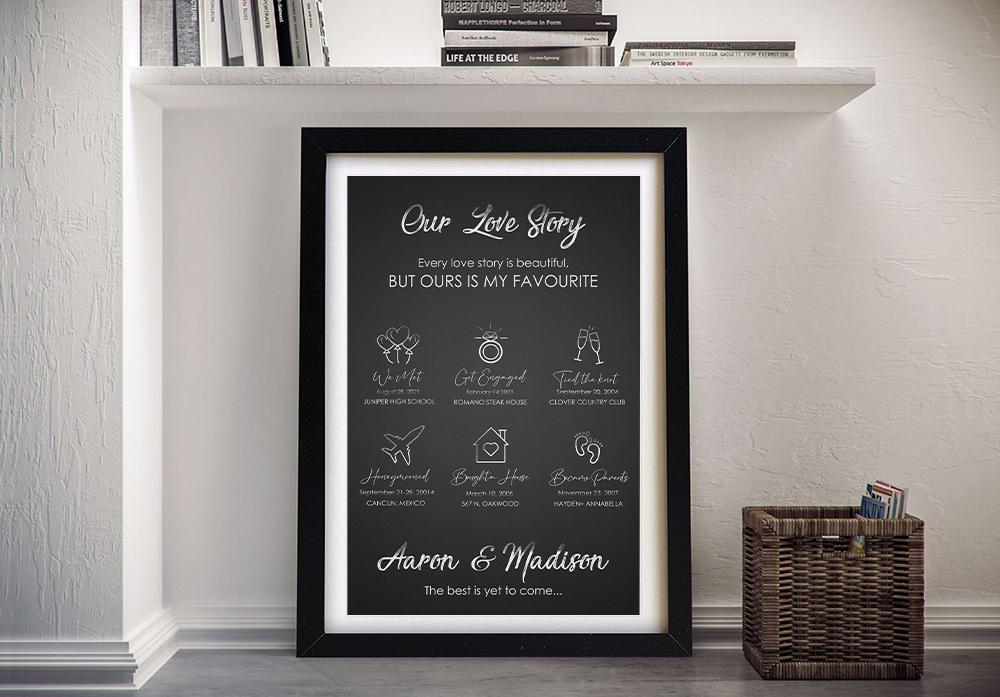Our Love Story Framed Bespoke Romantic Art